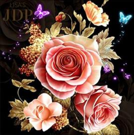 Full Diamond painting Rozen & vlinders 20 x 20 cm