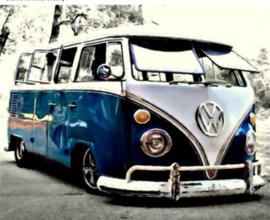 Full Diamond painting donkerblauw VW busje 20 x 25 + 30 x 40
