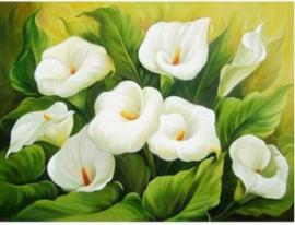 Full diamond painting bloemen; Aronskelken 30 x 40 cm