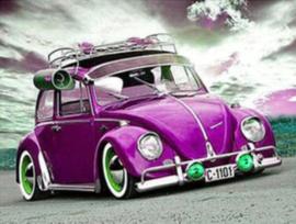 Full Diamond painting Paars VW kevertje 30 x 40 cm