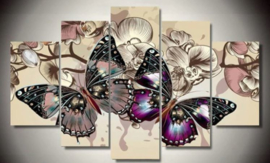 Full diamond painting Vijfluik Vlinders