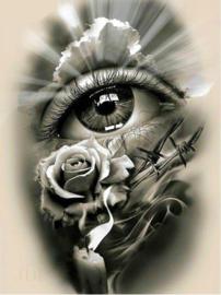 Full diamond painting oog met roosje 30 x 40 cm