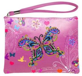 Roze handtasje met vlinder
