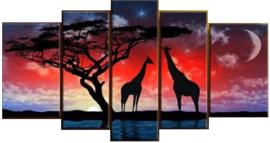 Full Diamond painting 5 luik  giraffen