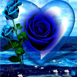 Full diamond painting blauwe roos in hart 35 x 35 cm