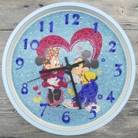 Diamond Painting Klok: Mickey & Minnie mouse 30 x 30 cm