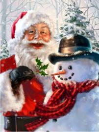 Full Diamond Painting Kerstman met sneeuwpop  30 x 40 cm