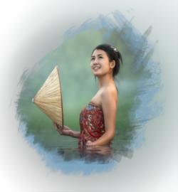 Full diamond painting  Aziatische vrouw 40 x 40 cm