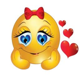 Full Diamond painting  emoji met hartjes 20 x 20 cm