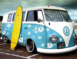 Full Diamond painting VW busje met bloemen 25 x 30 cm