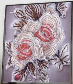 Speciale Painting  Bloemen en vlinder 25 x 25 cm