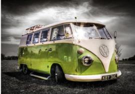 Full Diamond painting  limegroen VW busje 20 x 25 + 30 x 40