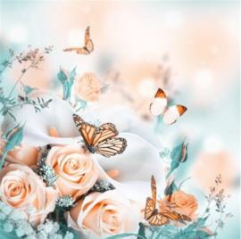Full diamond painting roosjes en vlinders 40 x 40 cm