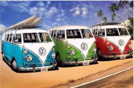 Full Diamond painting blauw, groen, rode VW bus 30 x 40 cm