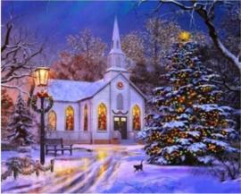 kerk kerstlandschap