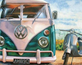 Full Diamond painting VW wagen 30 x 40 cm
