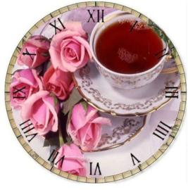 klok  met roosjes en thee 30 x 30 cm