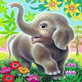 Full Diamond painting  baby olifantje 20 x 20 cm