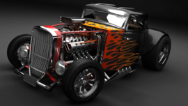 Full Diamond painting Hot Rod wagen 30 x 40 cm