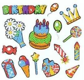 Sticker Diamond Painting Happy Birthday stickers 15st