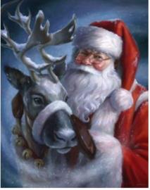 Full diamond Painting kerstman met rendier 30 x 40