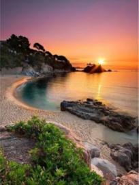 Full diamond painting  zonsondergang, zee, strand 50 x 70
