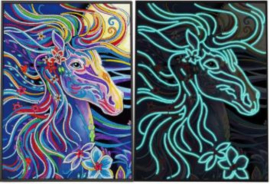 lichtgevende diamond painting fleurig paard