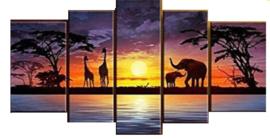 Full Diamond painting 5 luik olifanten & giraffen