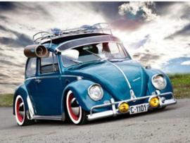 Full Diamond painting blauw VW kevertje 30 x 40 cm