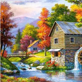 Full diamond painting huisje aan het water 40 x 50 cm