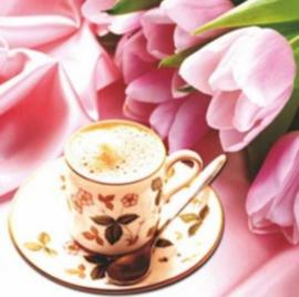Full Diamond Painting koffie rozen 30 x 30 cm
