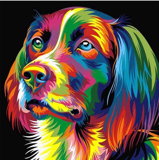Partial diamond painting Hond 30 x 30 cm