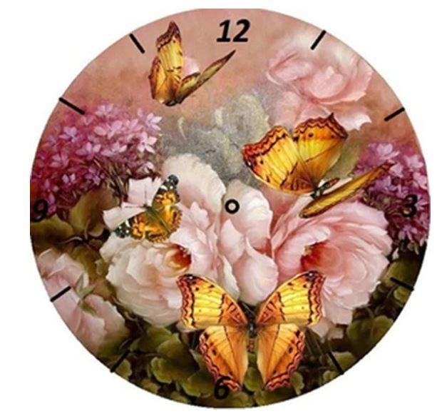 klok  met vlinders & bloemen 30 x 30 cm