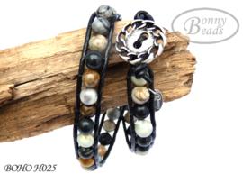 Wrap armband met leer BOHO H025