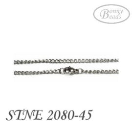 Stainless steel ketting 45 cm glanzend STNE2080-45