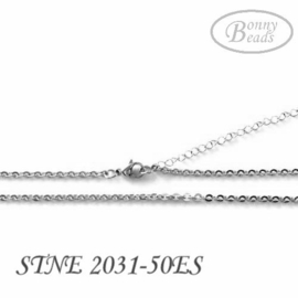 Stainless steel ketting, ovaal, 42-50cm, glanzend STNE2031-50ES
