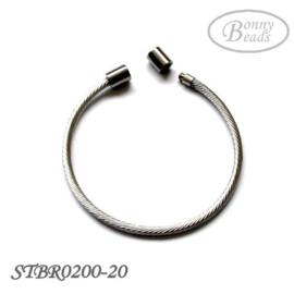 Stainless steel armband, 20cm, met schroefdraad STBR0200-020