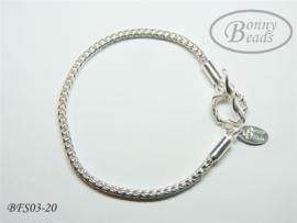 Zilveren wissel armband 20 cm