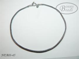 Antiek zilveren wissel collier 45 cm