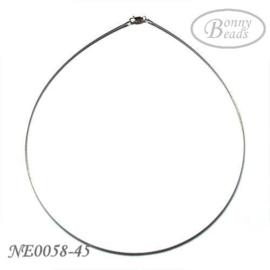 Zilveren spang collier NE0058-45 cm