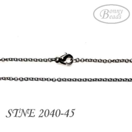 Stainless steel ketting, ovaal, 45cm, glanzend STNE2040-45