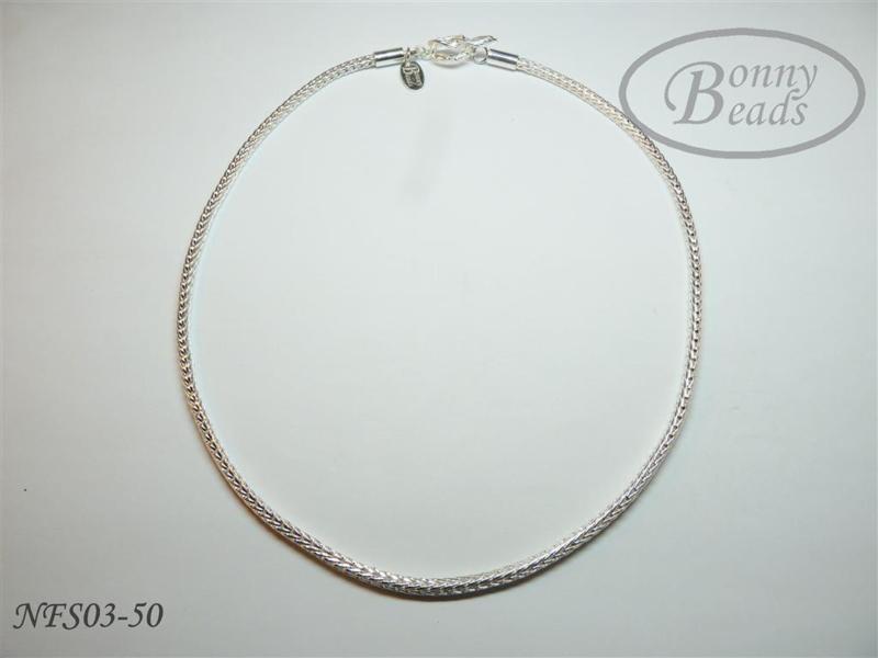 Zilveren wissel collier 50 cm