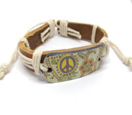 Leren armband met vrede symbool