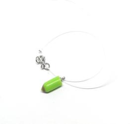 Nylon choker met mini groene hanger