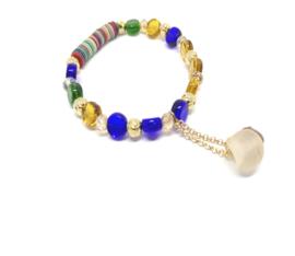 Kralen armband met beige en bruine kraaltjes