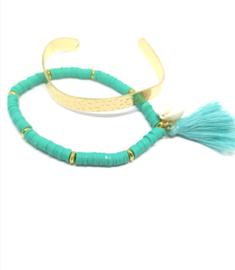Kralen armband  en cuff - Afrikaanse  stijl - setje