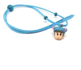 Lichtblauwe skwairlie ketting