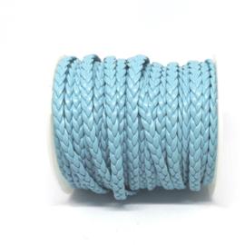 5mm - Lichtblauw gevlochten imitatie leer