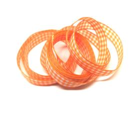 Oranje geruit lint - 10mm