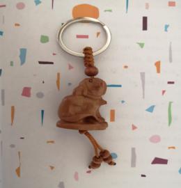 Houten hond sleutelhanger